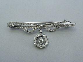Edwardian Diamond and Platinum Bow Pin C 1900
