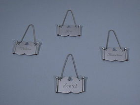 4 Cartier French Sterling Silver Liquor Tags