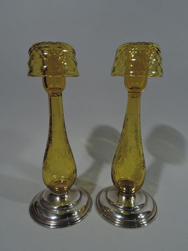 Pair of Hawkes Sterling Silver and Citrine Yellow Glass Candlesticks