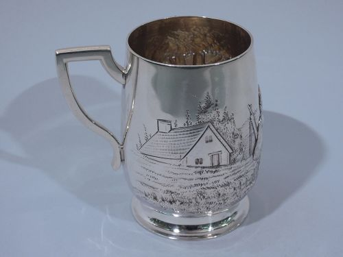 Antique English Edwardian Sterling Silver Baby Cup with Pastoral Scene