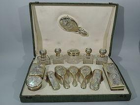 Art Nouveau Vanity Set in Original Traveling Case