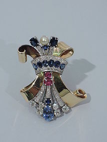 Retro Scroll Brooch with Sapphires, Diamonds & Rubies