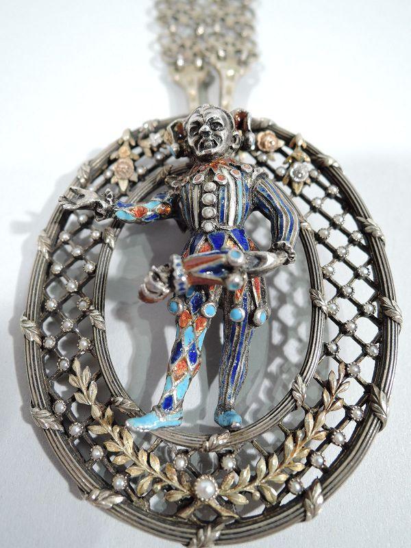 Renaissance Revival Silver Gilt & Enamel Jester Pendant