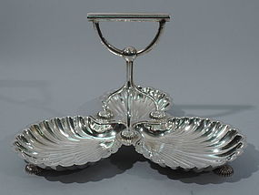 Antique English Silver Plate Trefoil Serving Dish with Scallop Shells