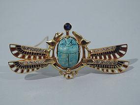 Egyptian Revival 14K Gold and Enamel Brooch C 1920