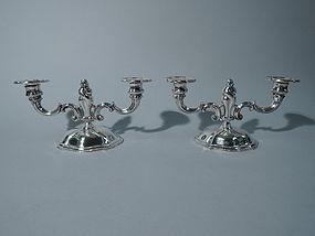 Pair of Art Nouveau 2-Light Candelabra - German Silver C 1920