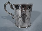 Antique English Sterling Silver Baby Cup with Classical Charioteers