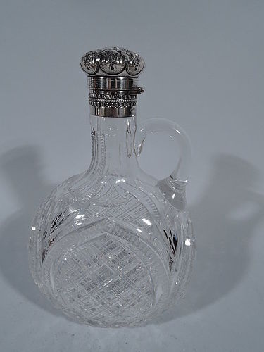 Gorham American Brilliant-Cut Glass and Sterling Silver Decanter