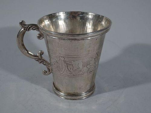 Antique South American Silver Mug C 1850