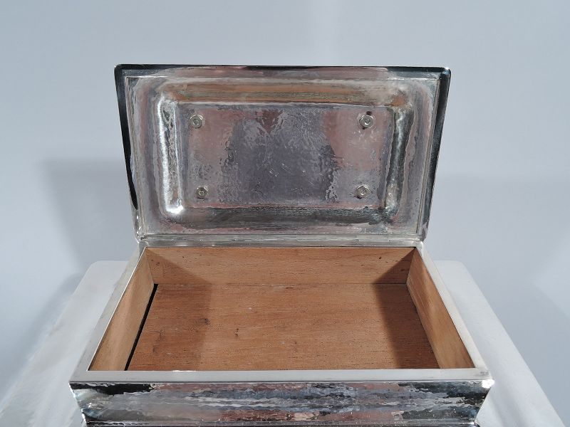 Tiffany Arts & Crafts Hand Hammered Sterling Silver Triple Cigar Box