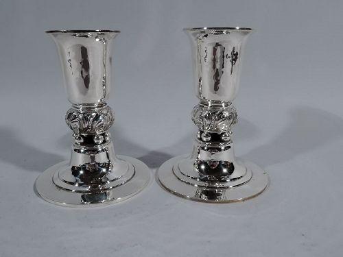 Pair of Georg Jensen USA Modern Sterling Silver Candlesticks