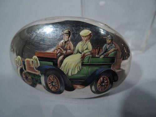 Nostalgic Motoring Days English Sterling Silver & Enamel Vanity Jar