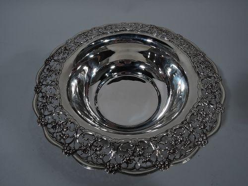 Antique Tiffany Edwardian Pierced Sterling Silver Bowl
