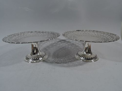 Pair of Antique Tiffany Art Nouveau Sterling Silver Shell Compotes