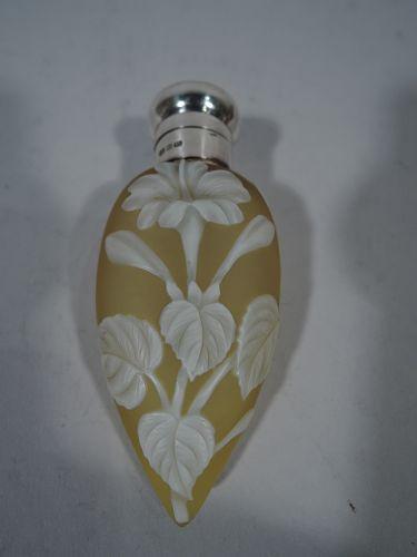 Antique English Cameo Glass & Sterling Silver Lemon Drop Perfume 1896