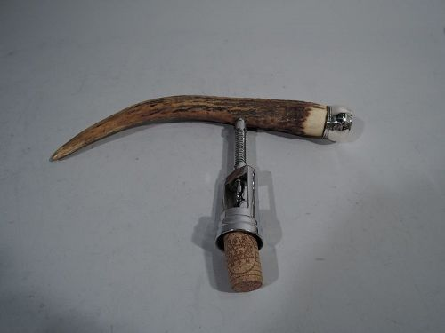 Large Antique Sterling Silver & Horn Corkscrew by Brooklyn Maker