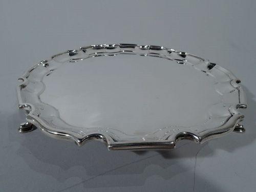 Traditional English Sterling Silver Georgian Piecrust Salver Tray