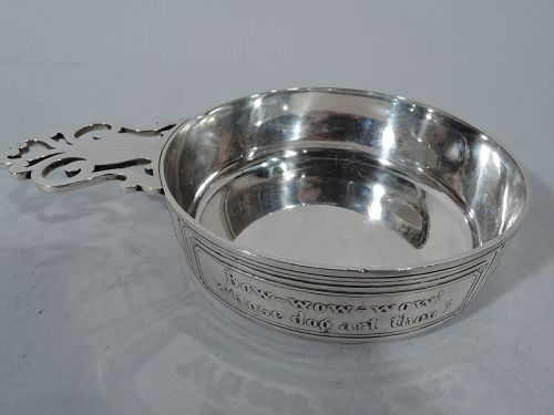 Antique American Mother Goose Sterling Silver Porringer by Tiffany