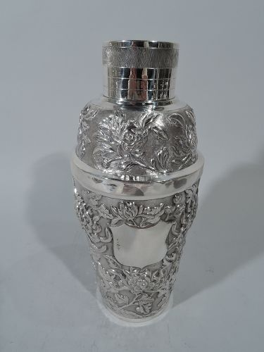 Antique Chinese Export Silver Chrysanthemum Cocktail Shaker