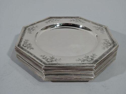 Set of 10 Antique Gorham Edwardian Sterling Silver Plates