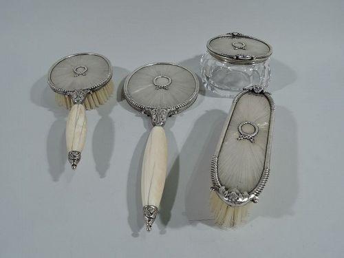 Modern Italian Empire Silver Vanity Set by Mario Buccellati