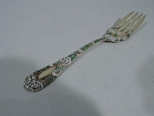 Antique Durgin Chrysanthemum Gilt Sterling Silver & Enamel Buffet Fork