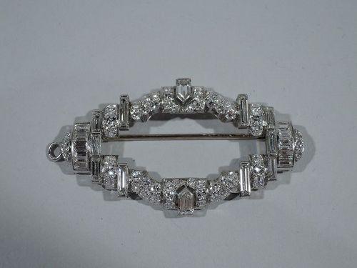 American Art Deco Platinum and Diamond Brooch C 1930