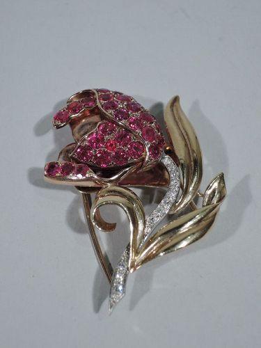 American Retro Ruby and Diamond 14K Gold Flower Brooch