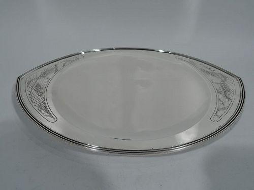 Tiffany Art Deco Modern Sterling Silver Crunchy Whole Grain Bread Tray