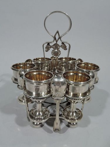Antique Chinese Silver Egg Stand with 6 Cups & Spoons by Khecheong