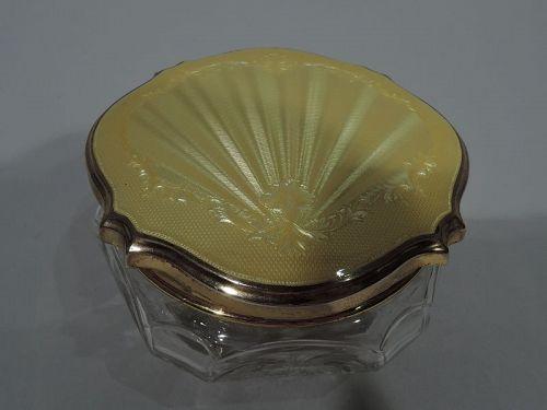 Antique English Crystal Powder Jar with Silver Gilt and Enamel