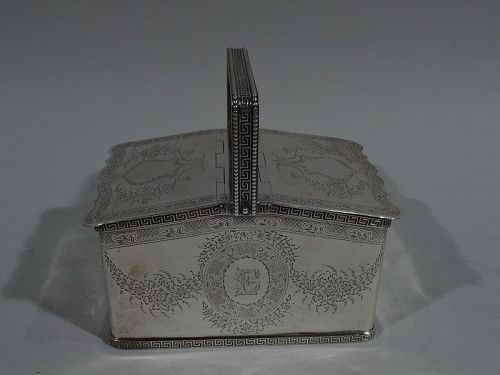 Tiffany Sterling Silver Tea Caddy with Early 550 Broadway Hallmark