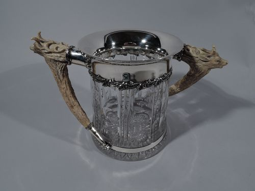 Antique American Cut-Glass Trophy with Carved Big Game Alpha Antlers