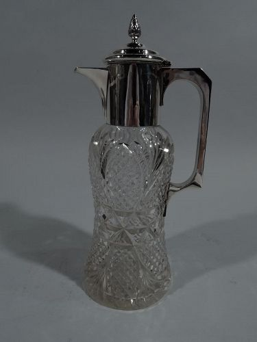 Antique English Edwardian Sterling Silver & Cut-Glass Decanter