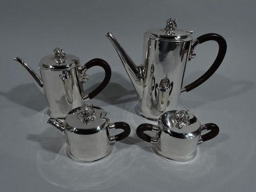 Spratling Sterling Silver Coffee & Tea Set with Jaguar Finials 1940s