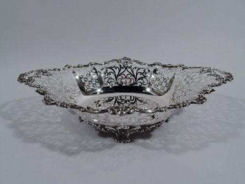 Antique JE Caldwell Edwardian Pierced Sterling Silver Bowl