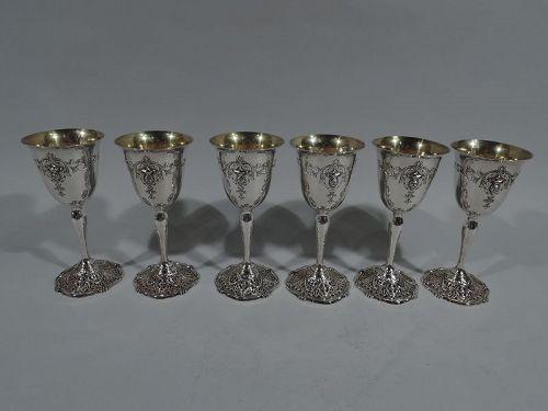 Set of 6 Antique Shreve Sterling Silver Goblets in Adam Pattern
