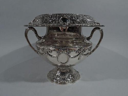 Antique Shreve Sterling Silver Wine Cooler in Adam Pattern