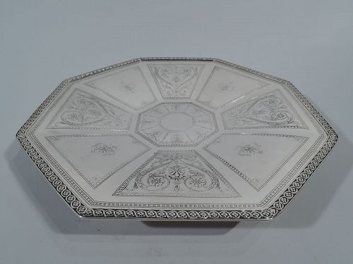 Antique Tiffany Aesthetic Sterling Silver Octagonal Footed Plate