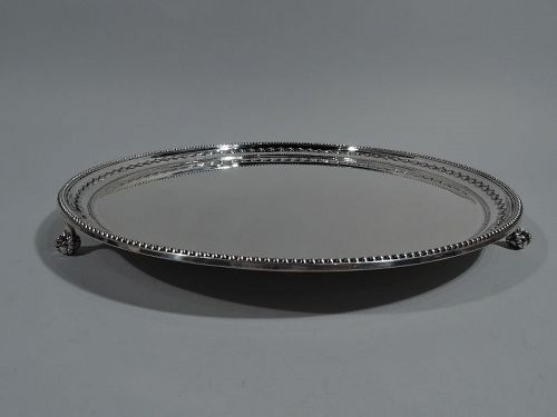 Antique English Neoclassical Sterling Silver Salver Tray 1899