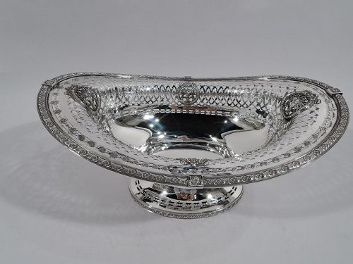 Antique American Edwardian Pierced Sterling Silver Footed Bowl