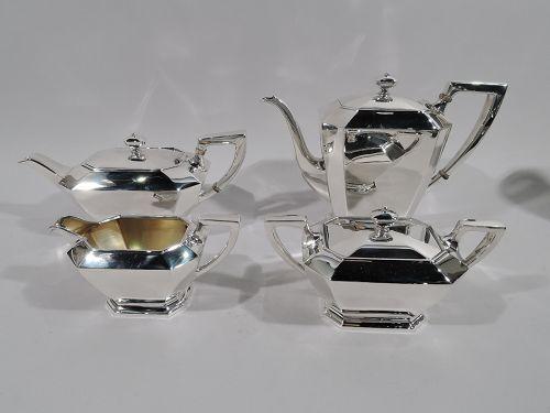 Gorham Sterling Silver Coffee and Tea Set in Art Deco Fairfax Pattern