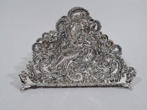 Antique American Sterling Silver Romantic Rococo Letter Rack