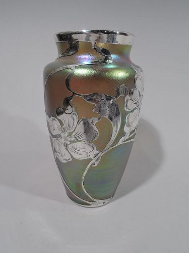 Art Nouveau Iridescent and Silver Overlay Glass Vase by Historic Loetz