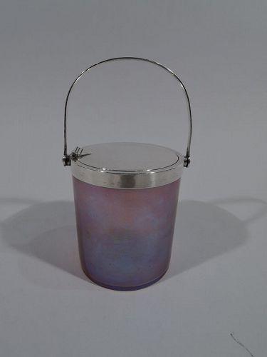 Beautiful Tiffany Art Nouveau Sterling Silver & Favrile Glass Jam Pot