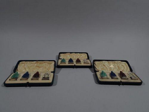 Set of 12 Exotic Silver Gilt & Hardstone Buddha Place Card Holders