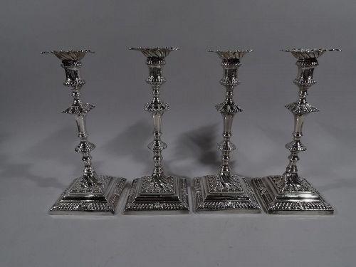 Set of 4 Fine English Georgian Candlesticks by Ebenezer Coker 1763