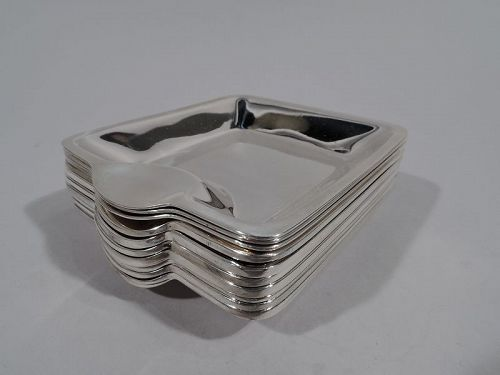 Set of 12 Tiffany American Modern Sterling Silver Ashtrays