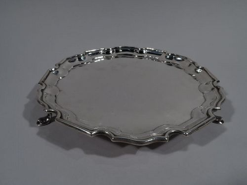 Traditional English Sterling Silver Salver with Georgian Piecrust Rim