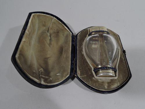 Samson Mordan Silver Gilt, Enamel & Lapis Lazuli Double-Valve Perfume